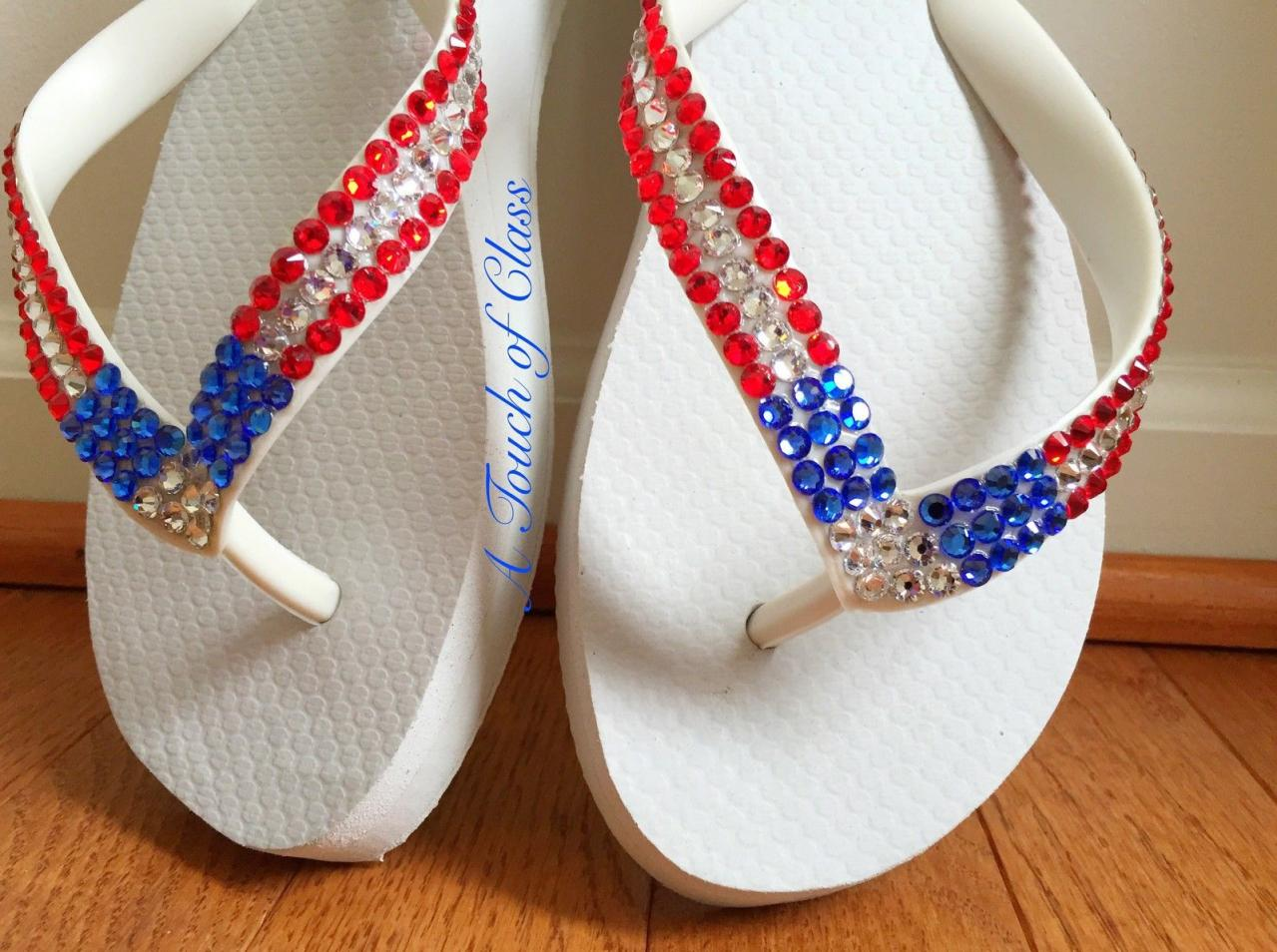 4th of July, Memorial Day, and Labor Day Flip Flops customized with Swarovski crystal rhinestones